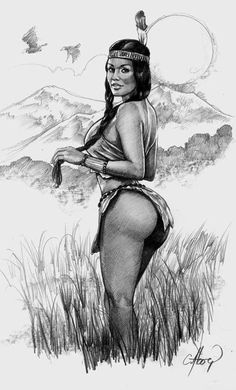 AMERICAN NATIVE GIRL PIN- UP SEXY ORIGINAL ART( NOT A PRINT) CLAUDIO ABOY