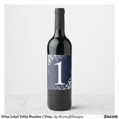 Wine Label Table Number | Vineyard (Navy Blue) Wine Label Design, Bottle Design, Wedding Seating, Wedding Table Numbers, Typography Images, Wine Table, New Backgrounds, Wine Bottle Labels, Wedding Places