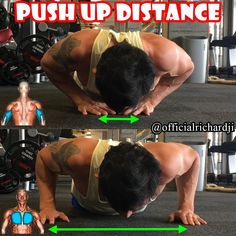 Push Up Distance: Diamond Push-ups vs. Normal Push-ups - great push ups variation to target chest or triceps. The closer you place your hands in regards to the push up the more focus you will put on your triceps so if you want to grow your triceps, do dia Home Exercise Routines, At Home Workouts, Gain Muscle, Build Muscle, Bodybuilding, Push Up Workout, Leg Day, Biceps, Chest Workouts
