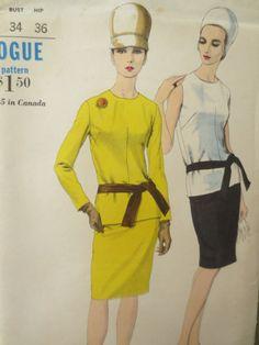 Patron de couture vintage Vogue 6483, Mod robe modèle, modèle de robe des années 60, deux pièces robe patron jupe Top modèle, buste couture Vintage 34