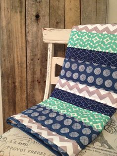 The Boys in Blue Baby Quilt  Navy and Mint by Nooches on Etsy, $80.00