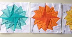 Para conseguir este bloque Pompom necesitamos trabajar 4 bloques iguales con el patrón de paper piecing del blog Blossom heart quilts . Par...