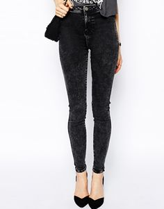 Image 1 of ASOS Rivington High Waist Denim Jeggings in Black Acid Wash
