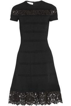Valentino Lace-paneled stretch-knit dress | NET-A-PORTER