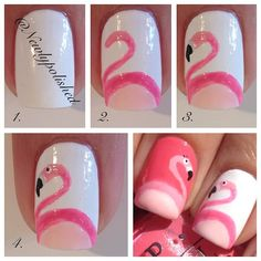 Flamingo nail art tutorial / pictorial for @Stephanie Close Close Close Close this is all u! :)