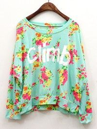 Blue Retro Floral Women Letter Printing Bat Wing Sleeves Cotton Short T-Shirts One Size A68-8638bl