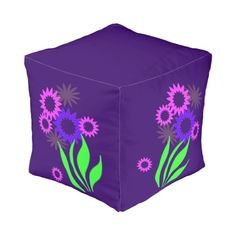 Whimsical Spring Flowers Cube Pouf