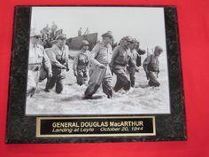 General Douglas MacArthur Engraved Collector Plaque w/8x10 VINTAGE Photo Beach Landing Leyte