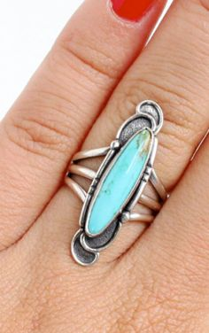 vintage 1960s sterling silver and turquoise ring. Native American-inspired