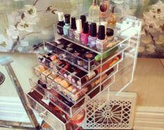 Claro organizador de acrílico del maquillaje belleza cubo