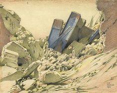 Keith Henderson (artist) - A Wrecked Railway Bridge near the Hindenburg Line near Villers Guislain London Transport, World War Two, Geology, First World, Artist, Book Illustrations, Watercolours, Painting, Scotland