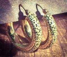 $169 LEOPARD GOLD HOOP EARRINGS