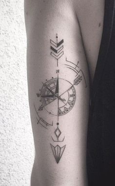 Compass Arrow Back of Arm Forearm Tattoo Ideas at #TattooIdeasForearm