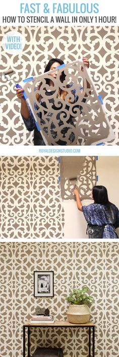 Fast & Fabulous: How to Stencil a Wall in Only 1 Hour! DIY Home Decorating Tutorial using Large Wall Stencils from Royal Design Studio Stencils, Stencil Diy, Stencil Walls, Furniture Stencil, Wall Stenciling, Painted Furniture, Large Wall Stencil, Large Wall Murals, Style Cottage