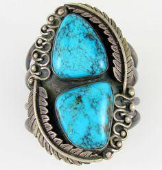 Old Pawn Kingman Turquoise Cuff Navajo