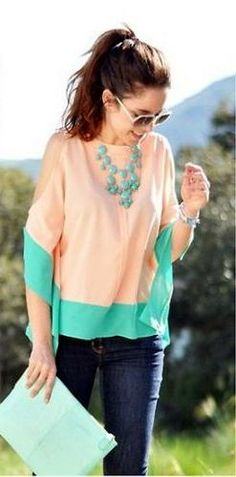 Peach and Turquoise Color-blocked Chiffon Shirt