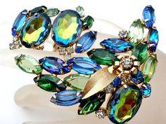 Juliana Heliotrope Rhinestone Brooch Earrings Set Vintage D E Blue Green Demi | eBay