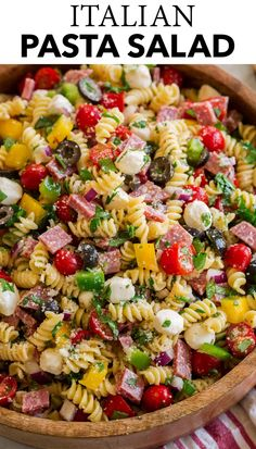 Italian Pasta Salad! Made with tender pasta, smoked salami, fresh veggies and herbs, two types of cheese, and a tangy homemade Italian dressing. Recipe on cookingclassy.com. Summer Pasta Salad, Summer Salads, Summer Macaroni Salad, Easy Pasta Salad, Italian Recipes, Great Recipes, Summer Pasta Recipes, Pasta Salad Italian, Side Dish Recipes