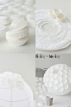 White paper lantern + white cupcake liners = Creative!  The blog post is not in English, but the pictures tell the story.  http://www.partylights.com/Lanterns