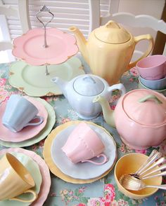 Spring tea set colors.  Love all the baby colors.  Feels like Easter and Spring to me!
