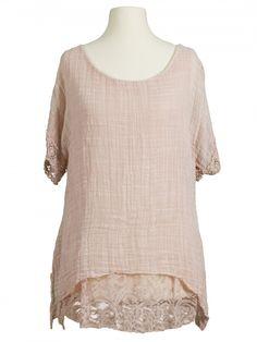 Damen Tunika Bluse mit Seide, rosa von Diana bei www.meinkleidchen.de