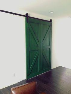 Custom Antique Green Barn Door!   #barn #barndoor #barnwood #farmhouse #farmhousestyle #farmhousedecor #interiordesigner #interiordesignideas #interiordecorating #homedecor #woodwork
