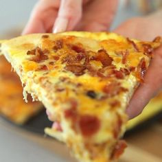 Bacon Egg & Cheese breakfast pizza. It's so easy! All you need is Pillsbury pizza dough, eggs, bacon and cheese. Perfect for brunch at home. Video recipe | tipbuzz.com