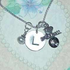 Initial I Love Baseball Charm Dangle Hand by DolphinMoonCreations, $34.00