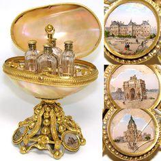 Rare LG Antique French Palais Royal Scent Etui, MOP Shell Egg, 3 Paris Scenes