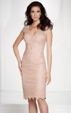 Scalloped V-Neck Dress by Social Occasions by Mon Cheri 115863