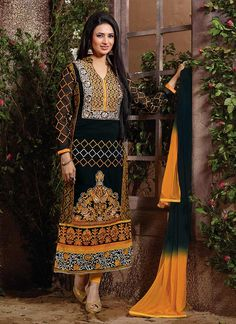 Look modish like Divyanka Tripathi in this faux georgette straight suit that displays cut worked side panels and embroidered worked foliage designs spread all over the kameez. Comes with matching bottom and dupatta.