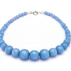 Splendette Carved Fakelite Beads Powder Blue