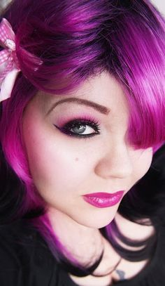 Very striking purple/pink mix.  I'd do this to my hair, too, if I could get away with it.