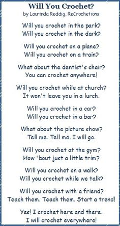 Will you Crochet? Poem   Where is the strangest place you have ever crocheted?  ❥ 4U // hf