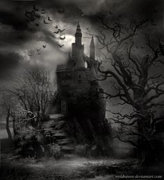 can't have enough gloomy gothic castles ~ Stock: moon: mine steps: ~BreedStock bats: trees: Wikimedia Commons castle: own resources.