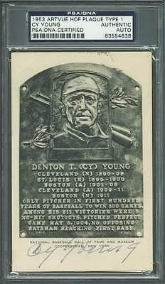 Cy Young Signed 3.5x5.5 1953 Artvue HOF Plaque Type 1 SLABBED - PSA/DNA Certified - Baseball Slabbed Autographed Vintage Cards >>> To view further for this item, visit the image link.
