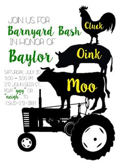 Barnyard Bash Birthday Party Invitation by NOLALOULOU on Etsy