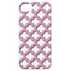 Trendy Chic Pink Quatrefoil Mosaic Pattern Apple iPhone SE + 5/5S case