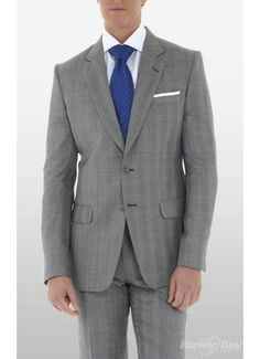 Groom - grey suit blue tie