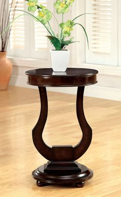 """SIDE TABLE  CM-AC106  ALDA COLLECTION $94  • Transitional Style • Bell-Shaped Design • Solid Wood Veneers* • Dark Walnut Finish     DIMENSIONS:  15 3/4""""DIA X 23 3/4""""H"""