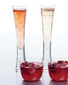 Sorbet and Champagne Cocktail Surprise -- Scoop raspberry or passion fruit sorbet into a Champagne flute and fill with chilled Champagne or Prosecco.