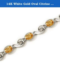 14K White Gold Oval Citrine Bracelet. This 14k white gold oval citrine bracelet features 8 7x5 mm stunning natural citrine stones with a 5.12 ct total gem weight.