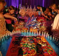 Guests dig into the candy buffet,