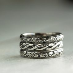 Romantic Stacking Rings in  Sterling Silver by ThirtySixTen, $95.00