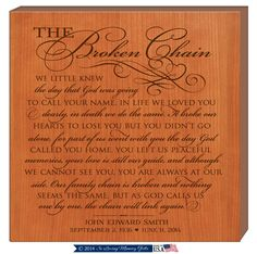 The Broken Chain Prayer Wall plaque Personalized Broken chain Poem,Poem The Broken chain, Custom Funeral Gift, Gift for grandparents by Inlovingmemorygifts on Etsy