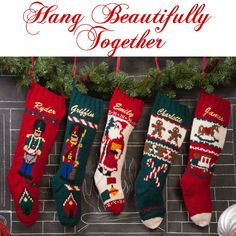 Decorate for Christmas with traditional hand knit Christmas stockings. We will personalize any stocking for FREE!