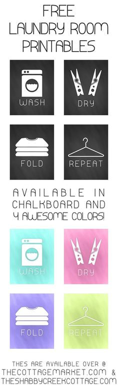 Free set of laundry art prints Need something cute to dress up your laundry area? This set of free laundry art prints are perfect for almost any space - print your own for free! - free laundry art prints - available in chalkboard plus four other colors