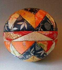 """Japanese Temari Ball made of kimono fabric """"Kyoto nisijin obi"""" Handmade"""