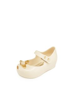 VIVIENNE WESTWOOD ANGLOMANIA MINI MELISSA ULTRA GIRL X BALLERINAS WHITE/GOLD ORB 9-27. #viviennewestwood #shoes #