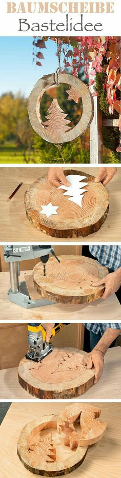 Large Holiday decor using tree round slice, patterns and hand held reciprocating saw